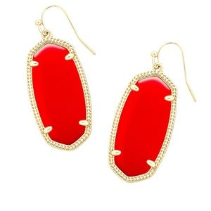 Kendra Scott Red and Gold Earrings with Bag